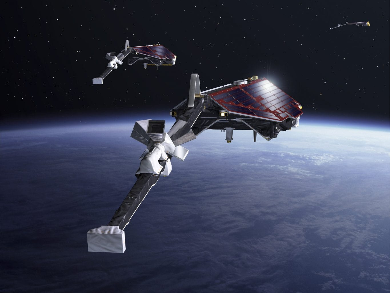 Artist's impression of ESA's Swarm satellites dedicated to studying Earth's magnetic field. Scientists used data from Swarm's observations for the latest study on Antarctica's magnetic links. Credit: ESA-P.Carril, 2013
