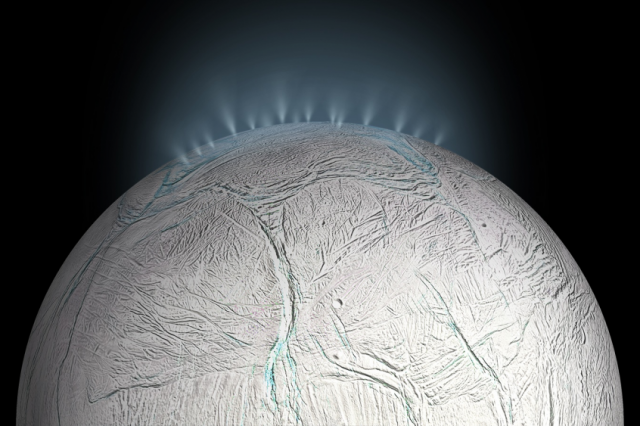 Artist's impression of the water geysers on Enceladus that have been captured several times by NASA's spacecraft. Scientists believe that worlds with underground oceans like Enceladus are more suitable for the formation of life than planets with surface oceans like Earth. Credit: NASA / JPL-Caltech
