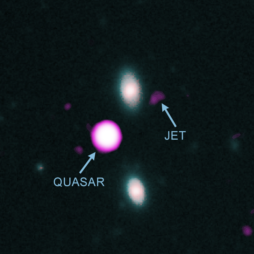 Composite image of quasar PJ352-15, including observational data in X-ray, optical and infrared wavelengths. Credit: NASA, Gemini, WM Keck Observatory