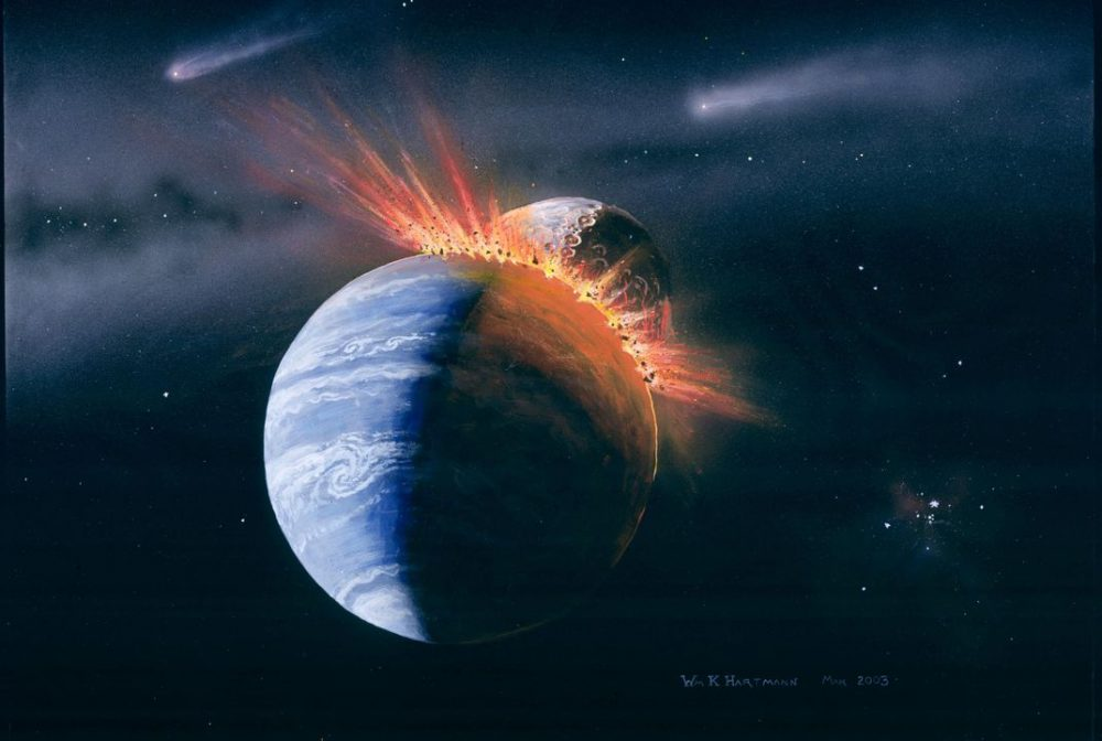 Visualization of the impact between Earth and the ancient alien planet Theia more than 4.5 billion years ago. Credit: William Hartmann