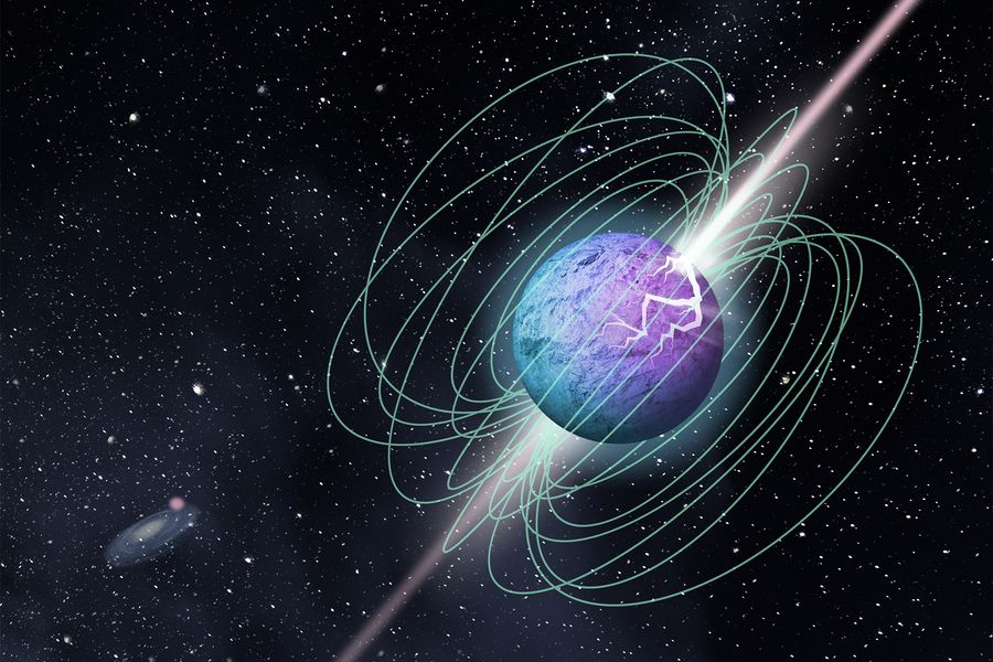 Artist's impression of magnetic bursts coming from a magnetar that could be the explanation of the fast radio bursts we detect on Earth. Credit: McGill University Graphic Design Team