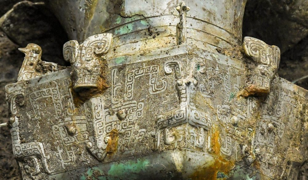 Large part of an elegantly decorated bronze ware found in the Chinese ruins at Sanxingdui. Credit: Xinhua