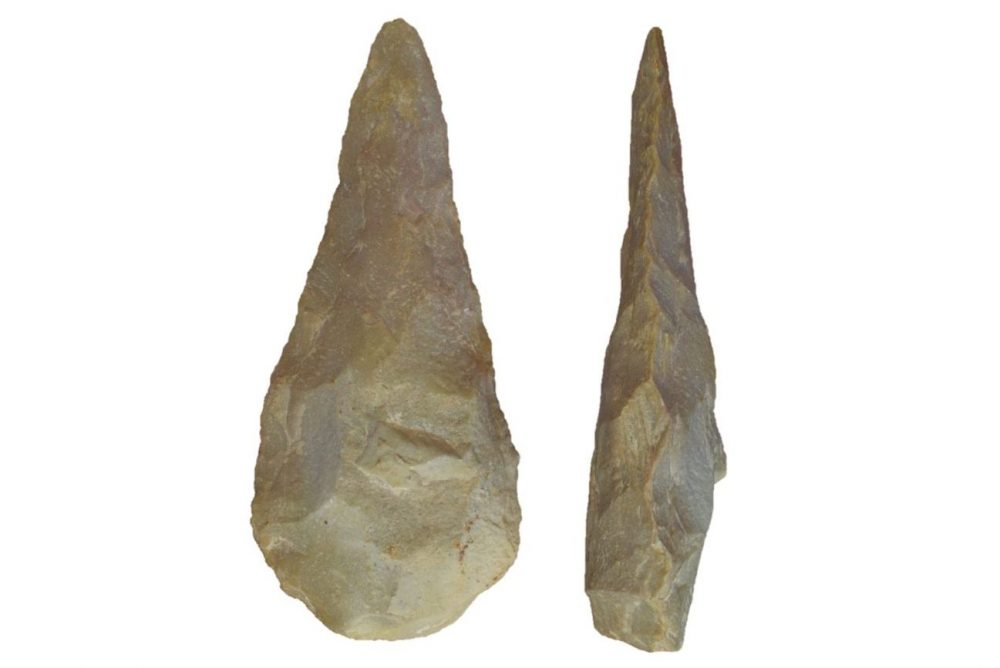 Acheulean handaxes discovered by the scientific team. These are tools made with one of the two oldest stone technologies known to science. Credit: Dr. Alastair Key