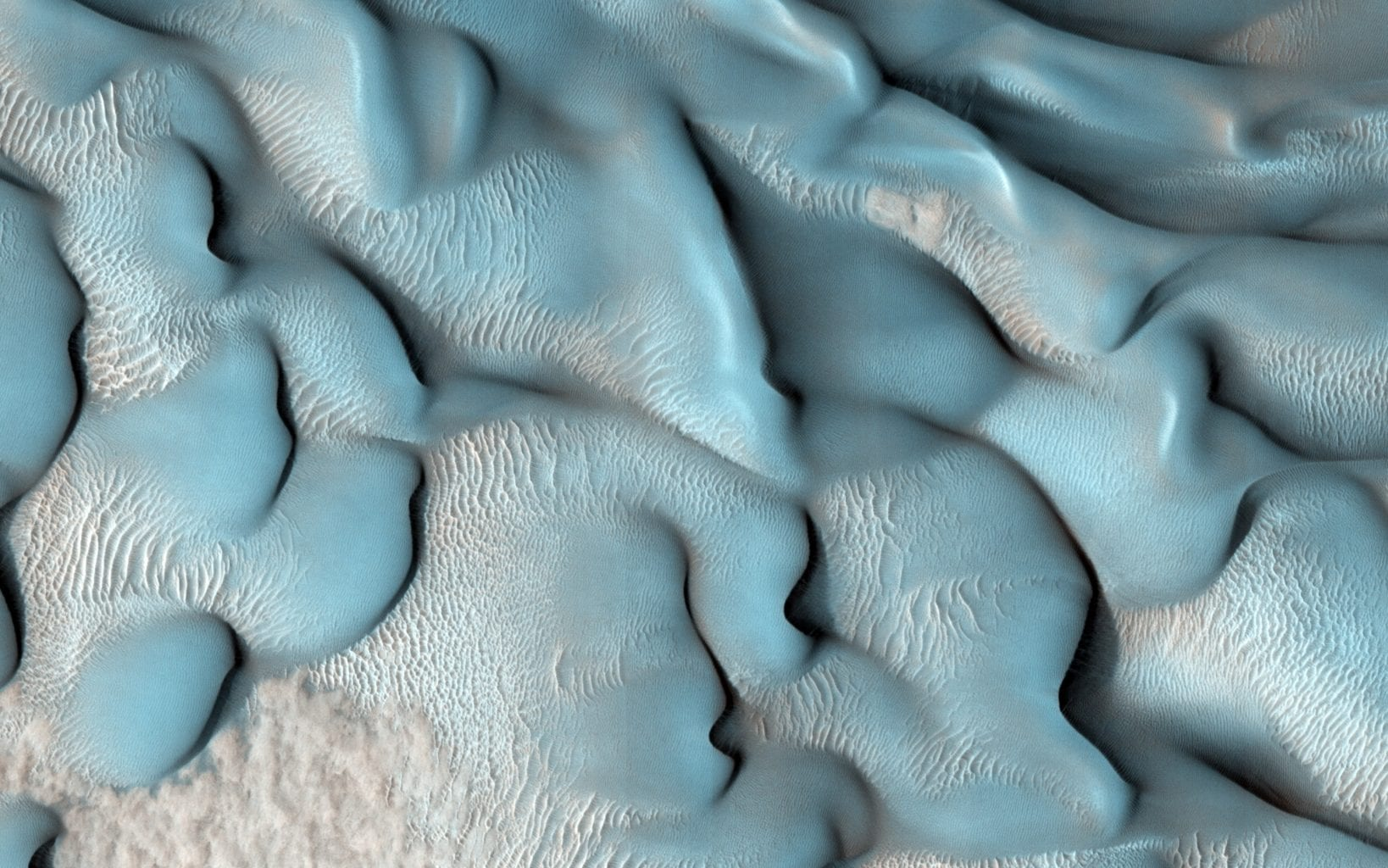 This MRO image shows a variety of dunes in the Lyot Crater in the northern lowlands of Mars. Credit: NASA/JPL/University of Arizona