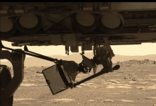 Two of the four legs of the Ingenuity Mars Helicopter have already been released. Credit: NASA / JPL- Caltech