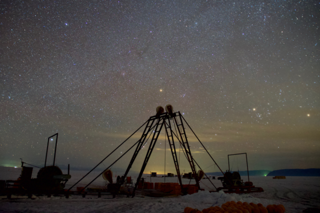 The night sky over the location of the underwater telescope. Credit: Astroparticle Physics European Consortium