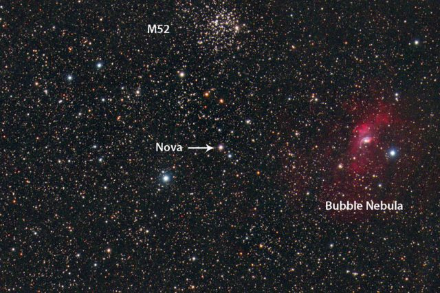 Here is an image of the new bright nova next to two well-known celestial objects - M52 and the Bubble Nebula. Credit: Dennis di Cicco