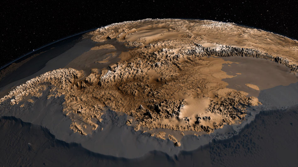 The sub-ice geology of Antarctica has not yet been fully studied. This latest study could help change this in the future. Credit: NASA