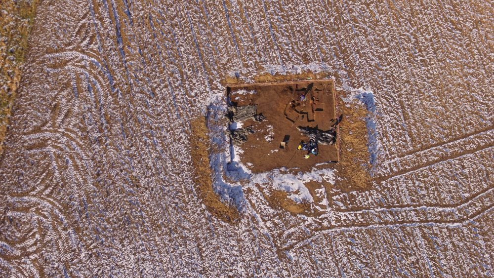 Aerial view with a drone of the ancient pottery production center excavation site. Credit: Projekt Wrzępia