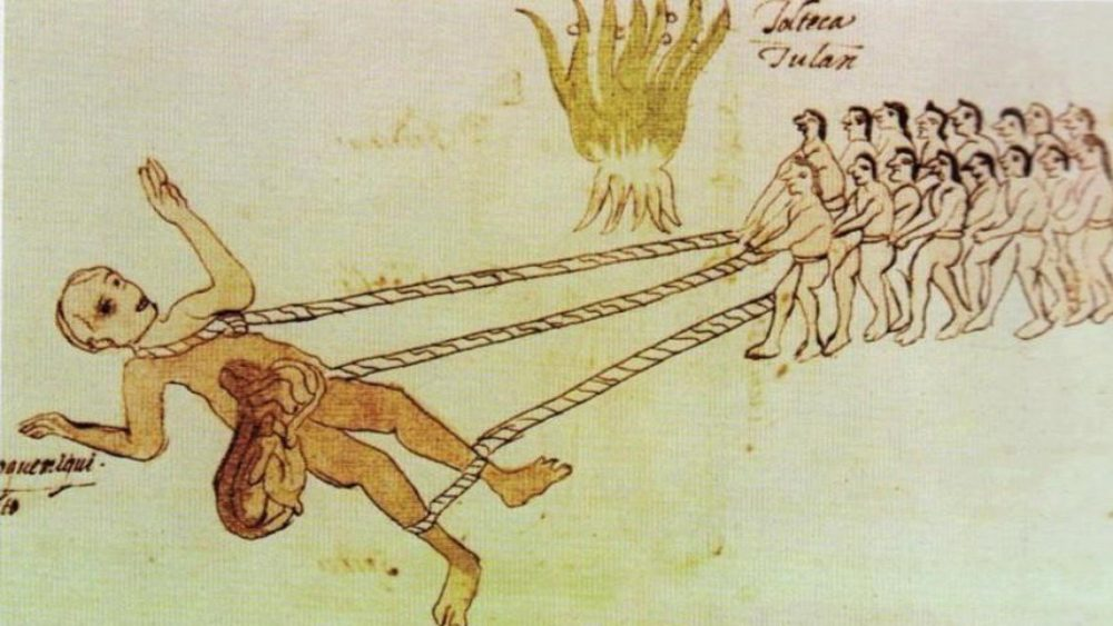 An illustration from an old manuscript from the colonial era called Codex Rios depicting Aztec warriors that captured a Quinametzin giant. Credit: Infobae