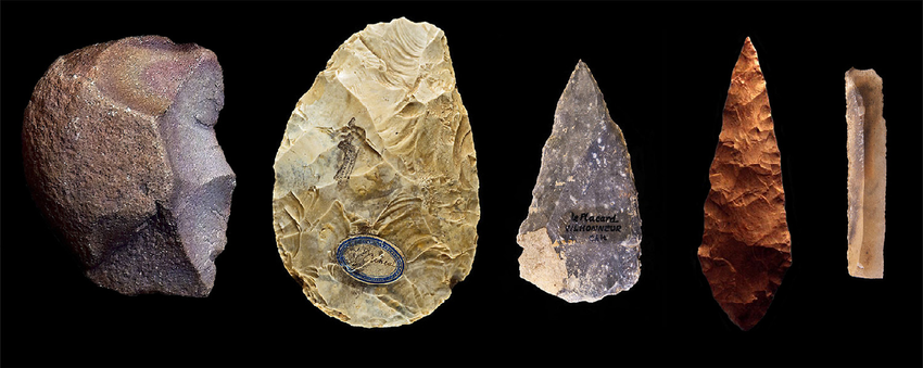 This compilation image shows five stone tool technologies and how toolmaking evolved. From left to right: an Oldowan tool, Acheulean handaxe, Mousterian point, Middle Stone Age point, Upper Paleolithic blade. Credit: Wikimedia Commons/Jon Erlandson