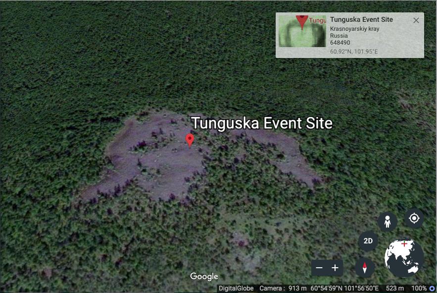 Tunguska site as seen on Google Earth. Credit: Google