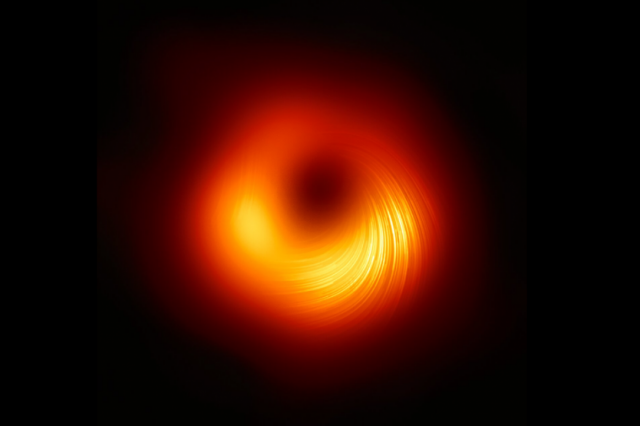 A new look at supermassive black hole M87 in polarized light. Credit: EHT Collaboration