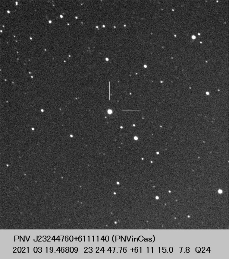 Photo of the new star taken from the Central Bureau for Astronomical Telegrams