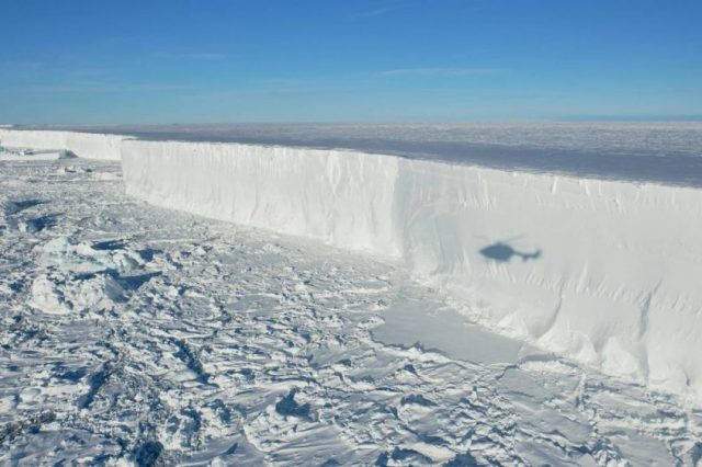 The edge of iceberg A74 that calved in February, revealing never-before-seen Antarctic seafloor for researchers to study. Credit: Alfred Wegener Institute / Tim Kalvelage