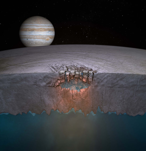 Astist's impression of a lake in the ice of Europa - one of the ways for water to reach the surface of the moon. Credit: NASA/JPL