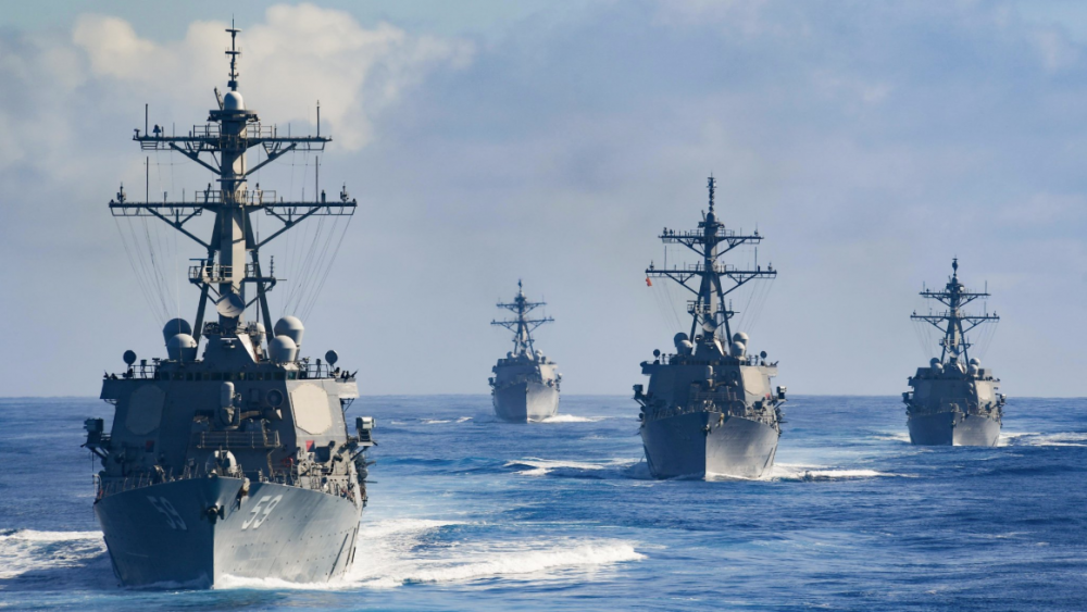 Three of the four American destroyers that were pursuited by UFO drones appear in this picture - USS Russell (DDG 59), USS Kidd (DDG 100), and USS (Rafael Peralta). Learn all about the incident below. Credit: U.S. Navy