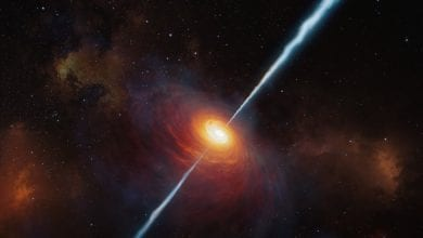 Artist's impression of Quasar P172 + 18 that emmited a radio signal more than 13 billion years ago. Credit: M. Kornmesser / ESO
