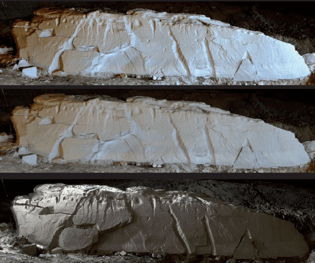 Several shots of the massive megalithic slab found in France. Credit: Julie Boudry, Inrap