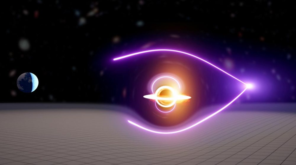 This artistic impression illustrates a new black hole that was discovered through gravitational lensing using light from an ancient gamma-ray burst. (Image credit: Carl Knox, OzGrav)