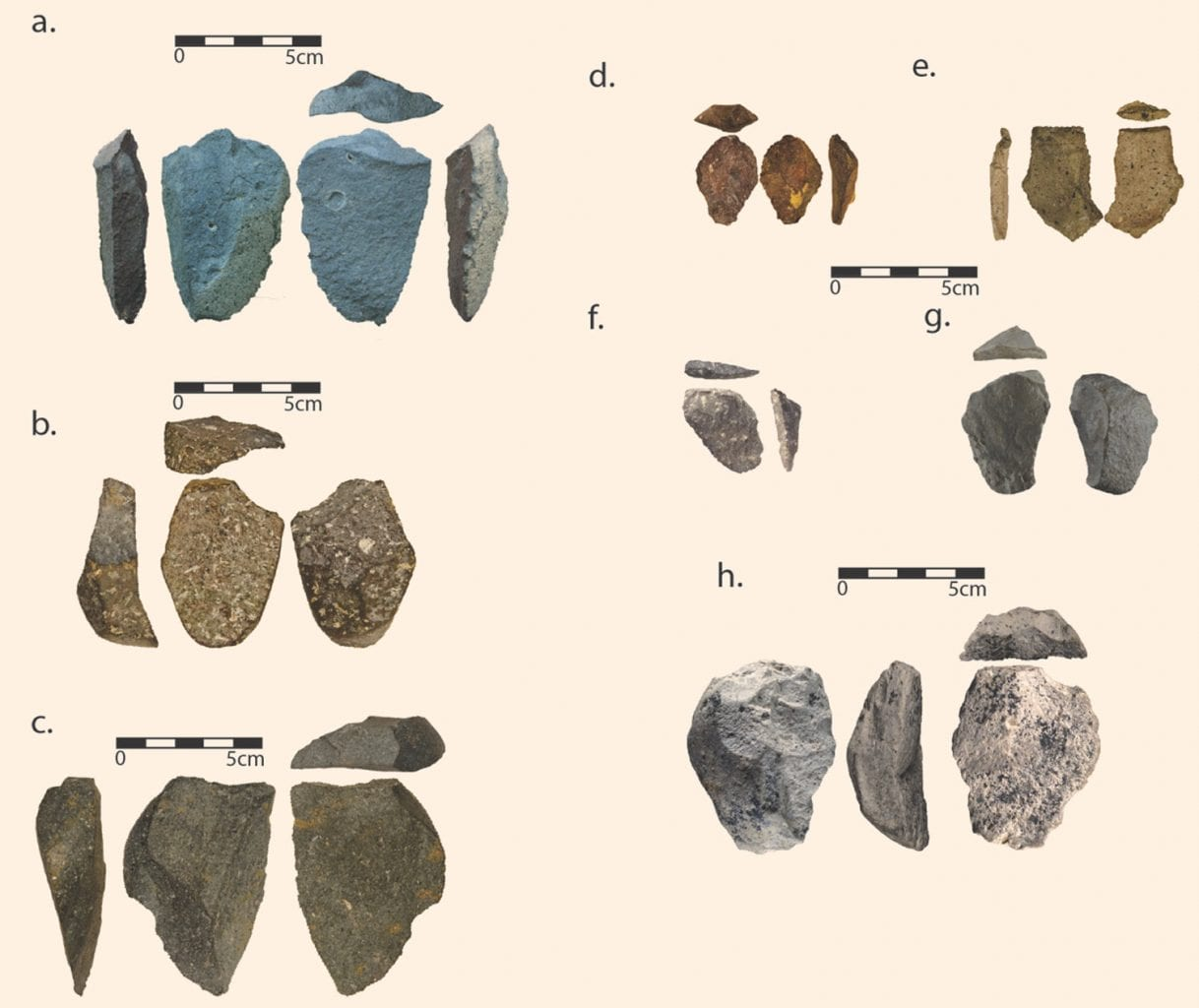 The stone tools you see on this image were made by the Olduvai culture more than 2.5 million years ago which makes them among the oldest discovered. They were discovered two years ago at the site of Bokol Dora 1 in Ethiopia. Credit: David R. Braun
