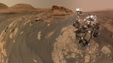 "NASA's Curiosity rover shown here in a stunning ""selfie"" image in front of Mont Mercou composed out of a total of 71 images from the Mars Hand Lens Imager and the Mastcam on the top of the rover. Credit: NASA/JPL-Caltech/MSSS"