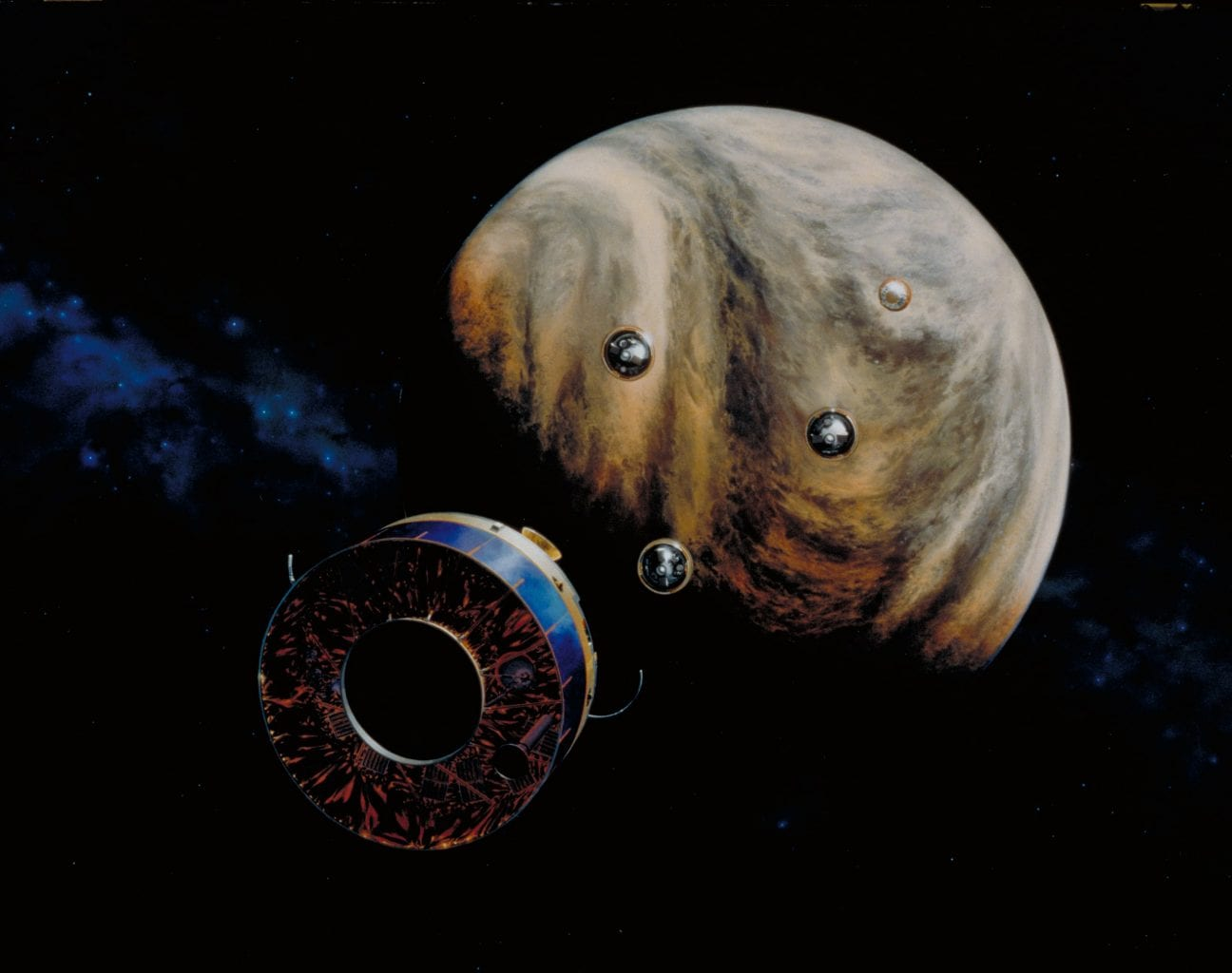 Artist's impression of NASA's Pioneer Venus Multiprobe approaching the planet almost 43 years ago. Credit: NASA