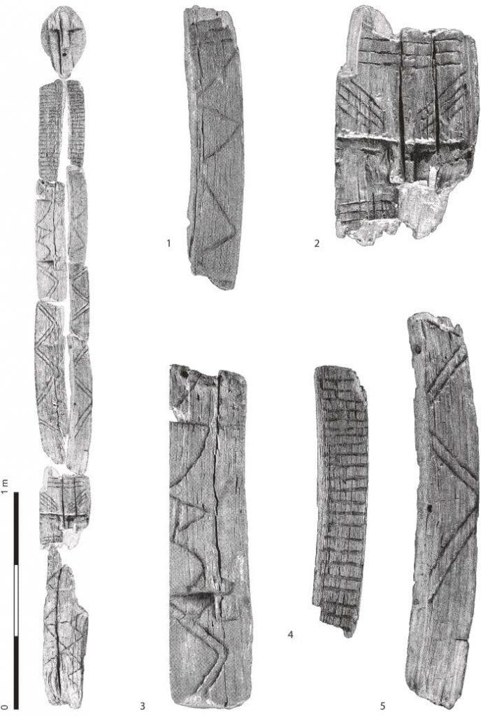 Fragments of the Shigir Idol. Credit: Terberger et al., Quat. Int., 2021