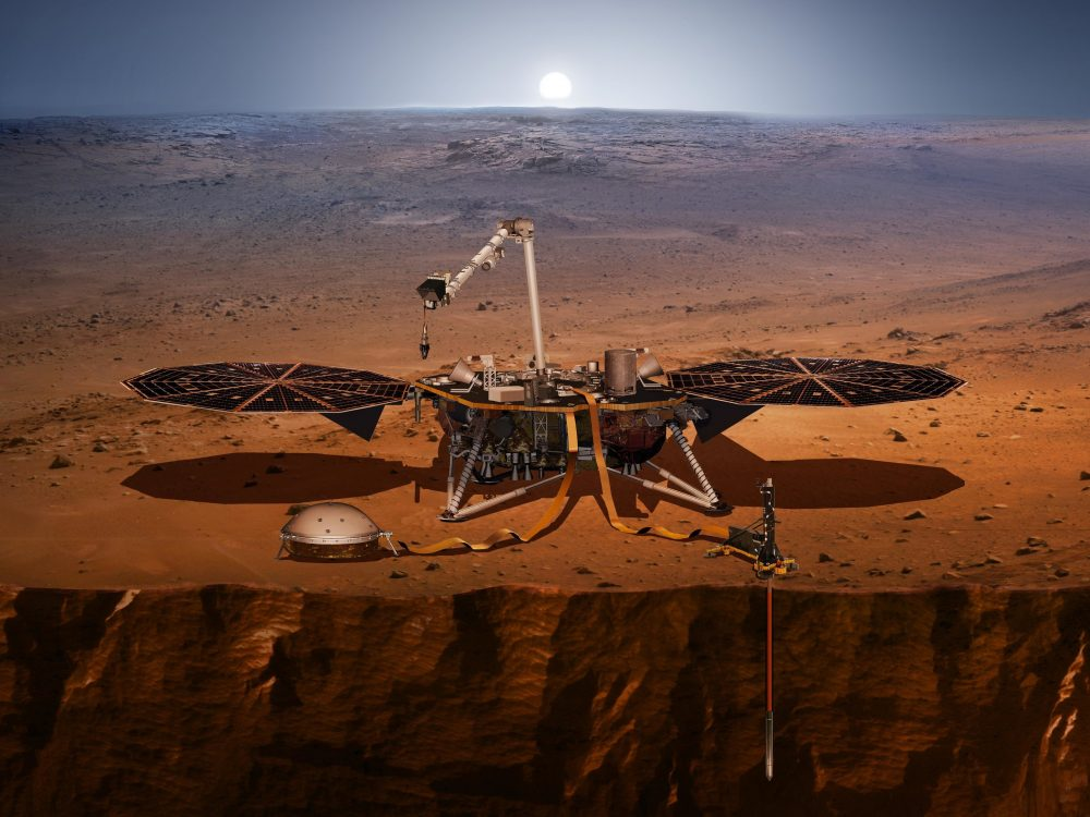 If you ever wondered how the NASA's Insight looks like on the Red Planet, here is an artist's concept of the lander and its instruments. After it detected the first Marsquakes in history, now it measured the molten core of Mars. Credit: NASA/JPL-Caltech