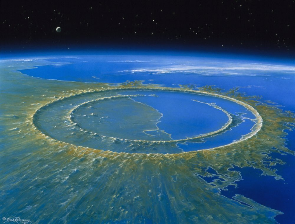 Artist's impression of the crater site created by the Chicxulub asteroid that killed the dinosaurs. Scientists have now found that this asteroid also impacted the global ecosystems in other ways, including the Amazon rainforests. Credit: D. van Ravenswaay/Science Photo Library