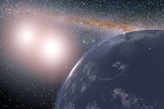 Artist's impression of a binary star system and a habitable planet orbiting the two suns. Credit: NASA / JPL-Caltech