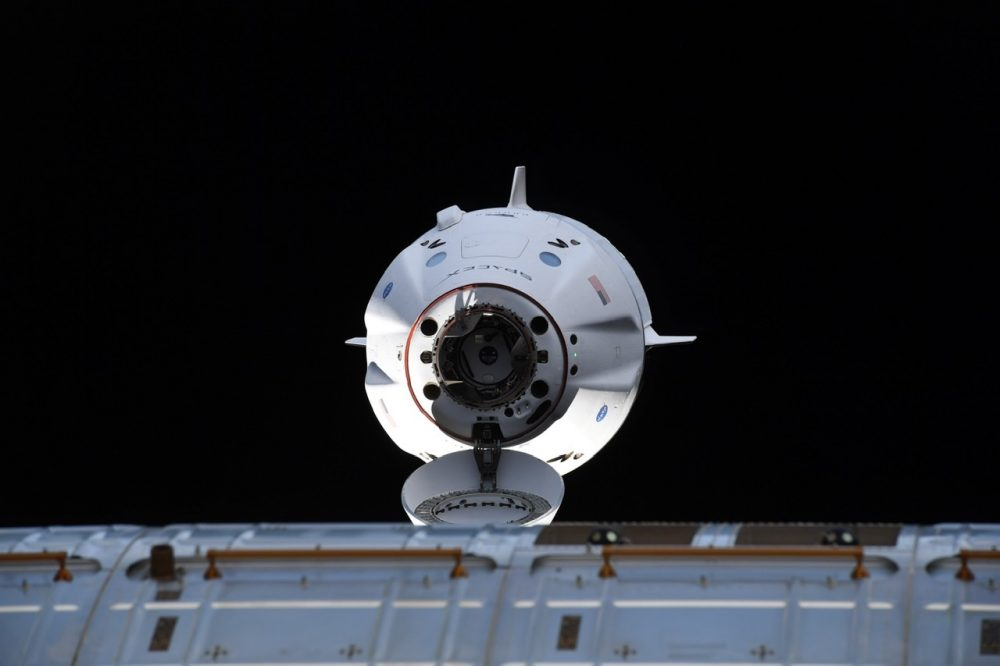 SpaceX's manned spacecraft Crew Dragon captured as it approached the ISS. Credit: SpaceX