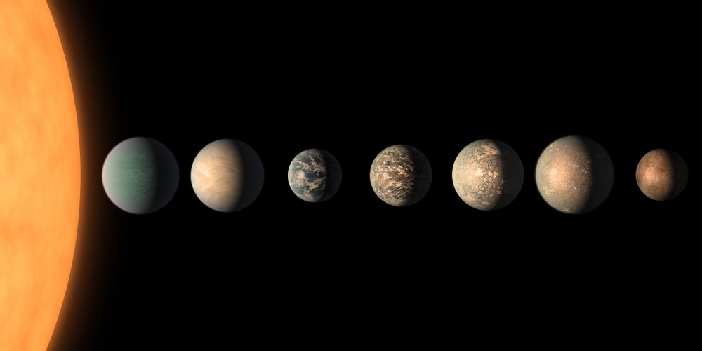 Exoplanets in the TRAPPIST-1 system, some of which may potantially host alien life. Credit: NASA/Spitzer Space Telescope