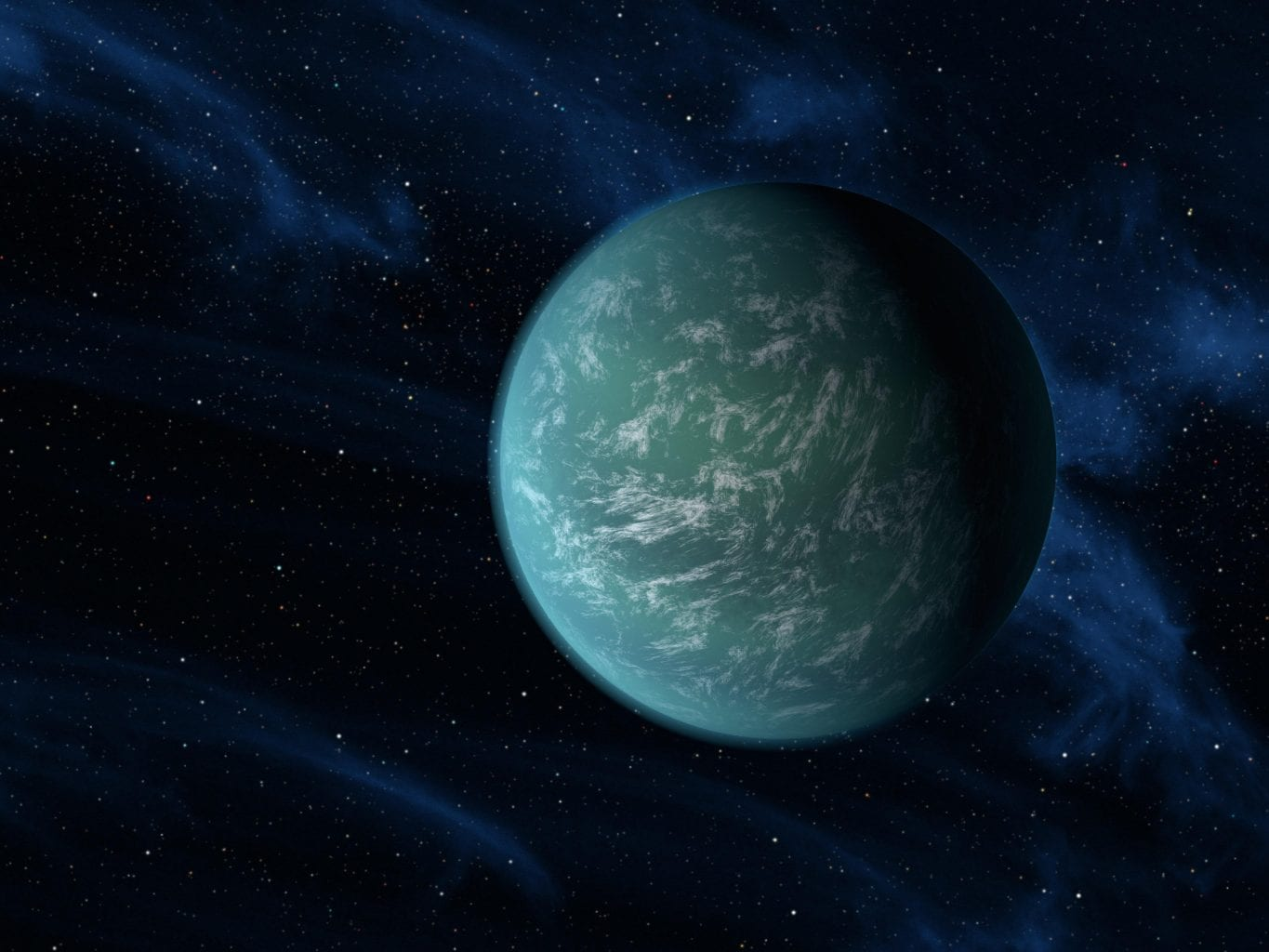 Exoplanet Kepler-22b, a potentially rocky world filled with oceans, as seen by the artist. Credit: NASA/Ames/JPL-Caltech