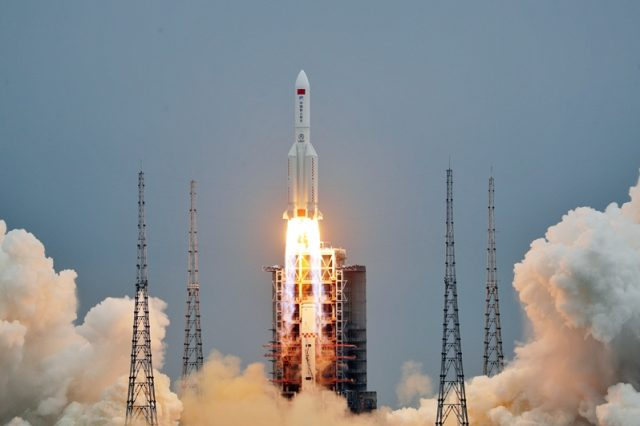 Photo from the launch of the Tianhe main module for the future Chinese Space Station from today. Credit: CNSA