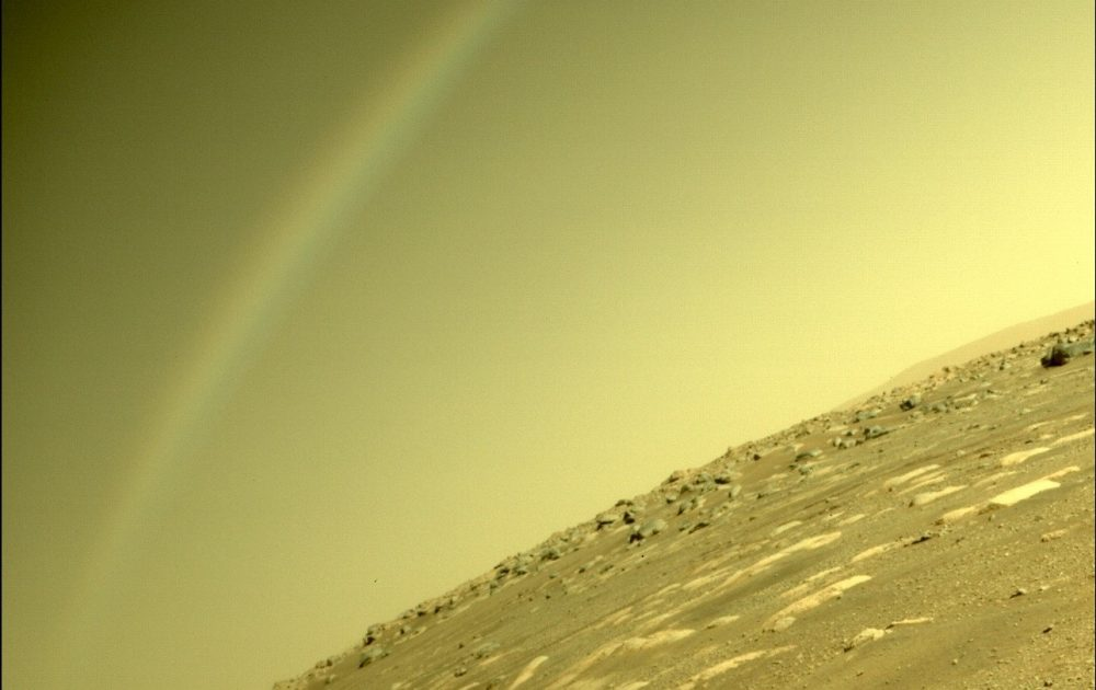 This Perseverance image raised a lot of questions since rainbows are impossible on Mars. Credit: NASA