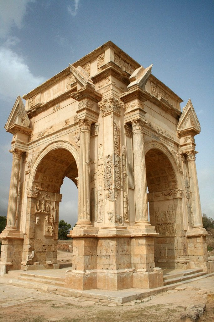 The Tetrapylon of Leptis Magna. This is a four-sided arch dedicated to Emperor Septimius Severus who brought the Golden Age of the city. Credit: Wikimedia Commons