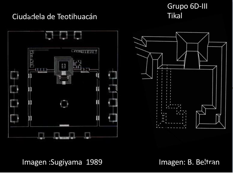 """Comparison of the Citadel of Teotihuacan with the newly discovered """"embassy"""" building in Tikal. Credit: Prensa Libre"""