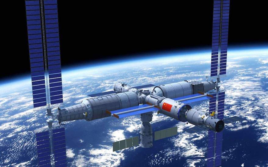 Possible view of the Chinese multi-module space station. Credit: UNOOSA / CNSA