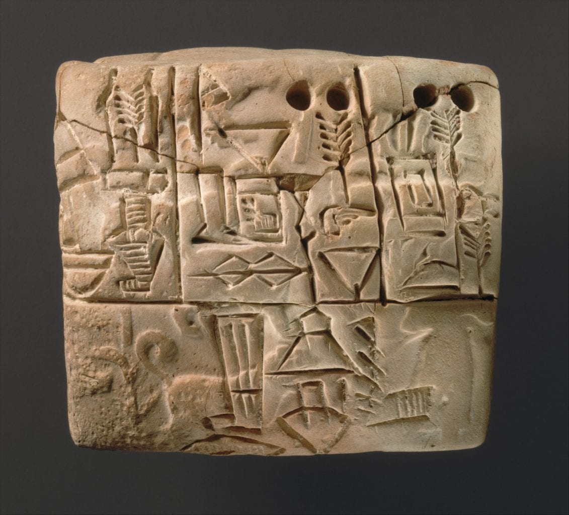 One of the biggest cultural achievements of the Sumerian civilizations was the invention of the earliest writing system. Here is a tablet dated to 3100-2900 BC that most likely includes documentation of grain distribution and other images. Credit: The Metropolitan Museum of Art