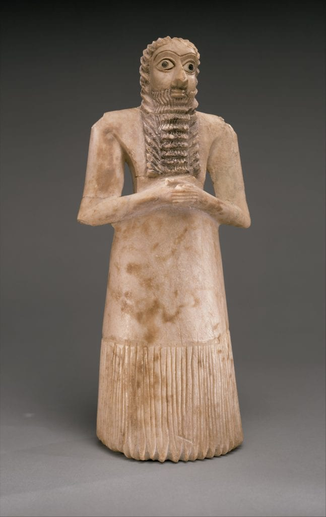 A Sumerian standing male worshiper sculpture dated to 2900-2600 BC. Credit: The Metropolitan Museum of Art