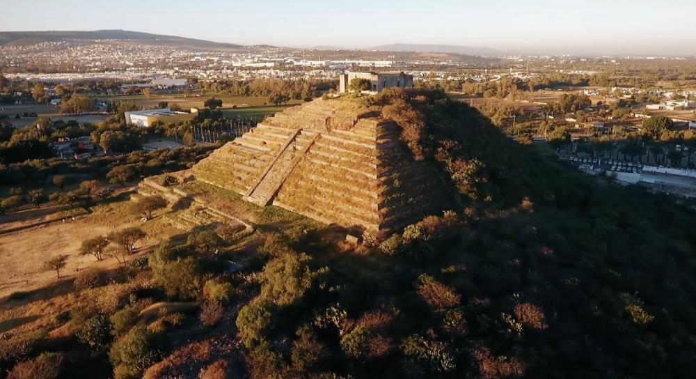 A screengrab showing an aerial view of the Pyramid of El Cerrito. Image Credit: Video Master Producciones / Youtube.