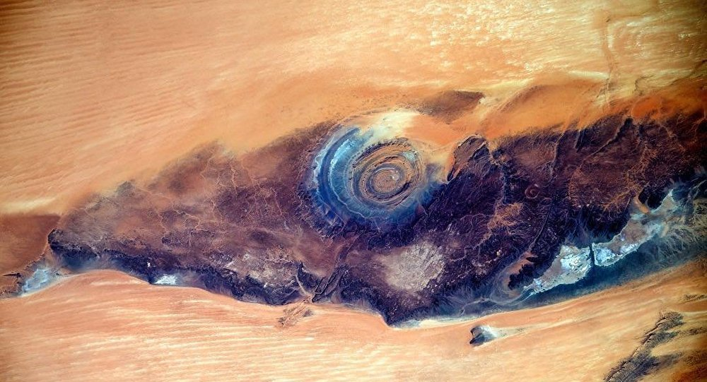 The incredible Richat structure captured by Russian cosmonaut Sergei Ryazansky working on the ISS. Credit: Roscosmos