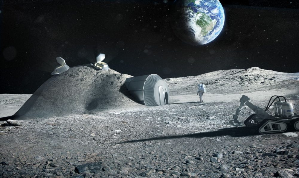 An artist's illustration of what a base on the moon might look like. Source: Space.com