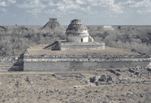 A panorama image showing El Castillo and the Pyramid of El Castillo in the distance. Image Credit: Octavio Medellin / Wikimedia Commons.