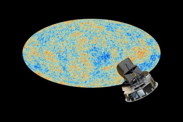 An illustration of the Cosmic Microwave Background and the Planck telescope that studies it. Physicist Roger Penrose believes he has found Hawking points in the CMB which are remnants of ancient black holes from the previous universe. Credit: ESA and the Planck Collaboration