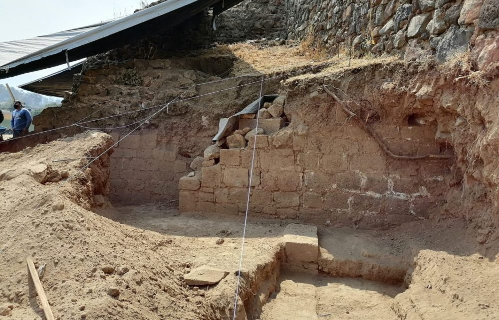 Archaeologists discovered the base of a massive pyramidal structure from the time of the Aztecs. Credit: Hervé Monterros Desruelles