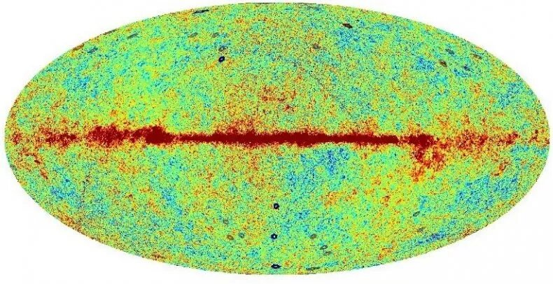 You can see the Hawking points detected on the Cosmic Microwave Background in blue and gray here. Credit: DANIEL AN, KRZYSZTOF A. MEISSNER AND ROGER PENROSE
