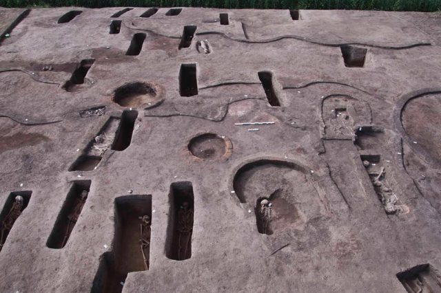 This photo shows only a few of the 110 tombs discovered in Egypt. Credit: Egyptian Tourism and Antiquities Ministry via AP