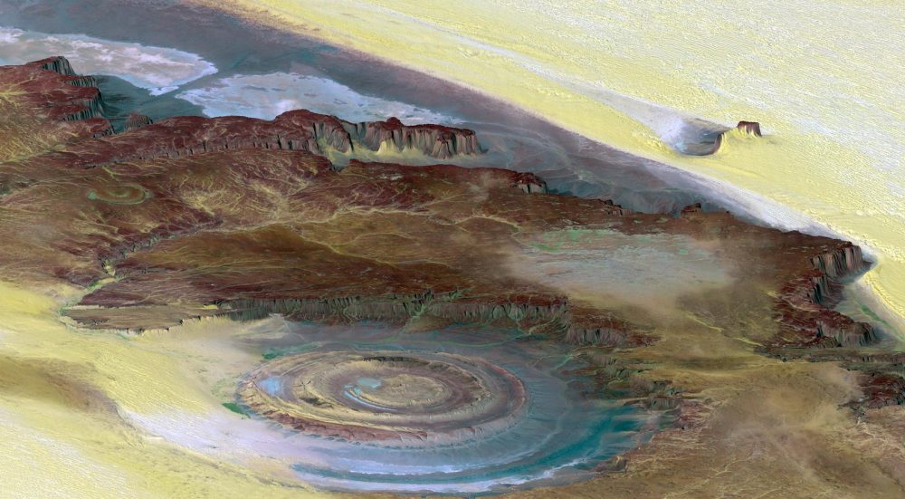 Topographic reconstruction of the Richat structure by NASA. Credit: NASA/JPL-Caltech